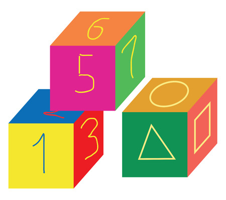 Cube-shaped multi-colored number and shapes toys designed to entertain and educate small children vector color drawing or illustration