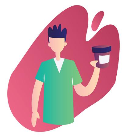 Modern vector occupation illustration on a white background of a ward boy holding a medicine bottle Иллюстрация