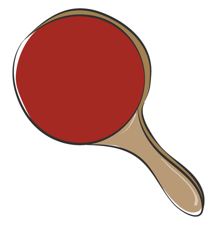 Clipart of a red table tennis racket with a brown handle is ready to hit a tennis ball while played by the player vector color drawing or illustration 向量圖像