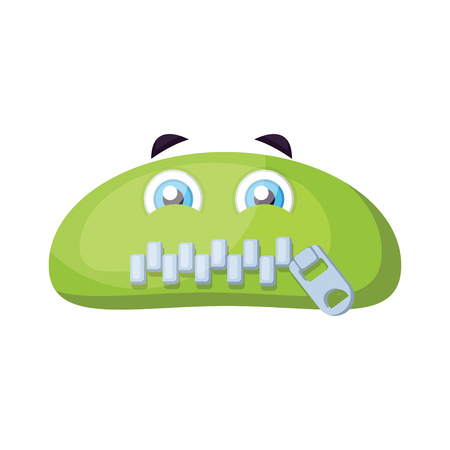 Green monster emoji with zipped mouth vector illustration on a white background Çizim