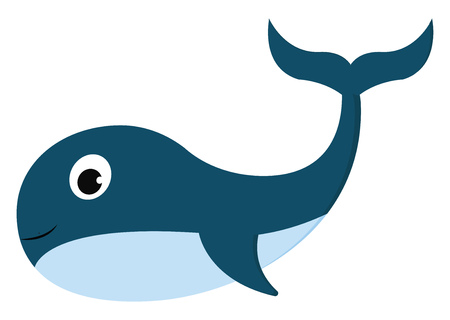 Clipart of a smiling blue-colored whale while swimming has a streamlined torpedo-shaped body with fins curved backward and a big round eye vector color drawing or illustration