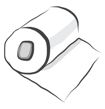 White colored bundle of toilet papers on a roll for wiping oneself clean after urination or defecation vector color drawing or illustration
