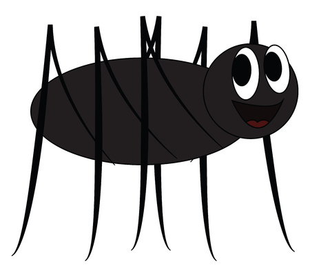A black cartoon spider with two bulging eyes and eight legs vector color drawing or illustration