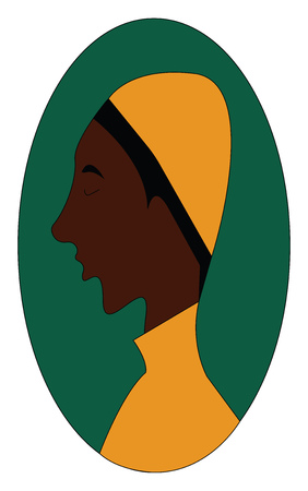 The side face of a brown boy with a yellow hat over egg-shaped green background in yellow costume has a long pointed chin is standing while eyes closed vector color drawing or illustration
