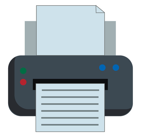 A grey-colored printer that applies pressure to an inked surface resting upon a print medium and transferring the ink provided with start and stop color buttons vector color drawing or illustration