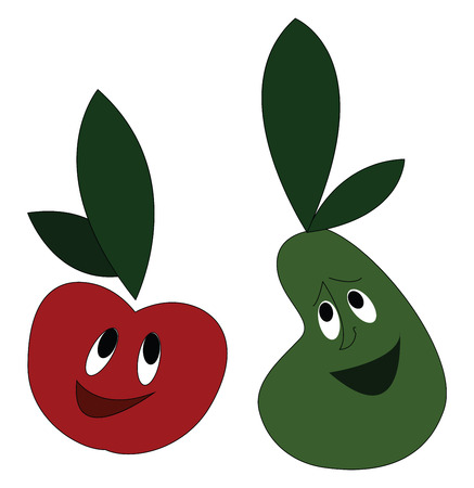 Clipart of laughing vegetables tomato and pear with green leaves and eyes rolled up vector color drawing or illustration