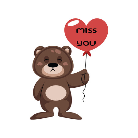Brown teddy bear holding heart shaped balloon saying Miss you vector illustration on a white background