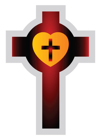 Colorful Lutherian Cross vector illustration on a white background Иллюстрация