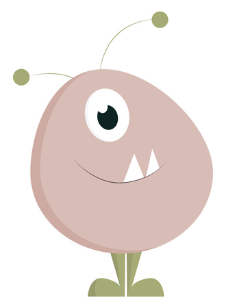 An oval-shaped cute-little pink monster with two horns one bulging eye and with two projecting fang teeth looks terrifying vector color drawing or illustration