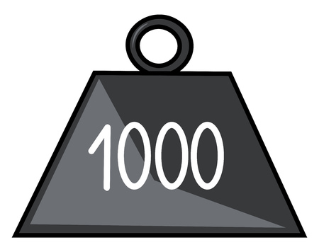 Clipart of 1-kilogram weight made of platinum-iridium alloy and the cylinder weighs approximately 22 pounds (1 kilogram) and represent one unit of mass vector color drawing or illustration Illustration