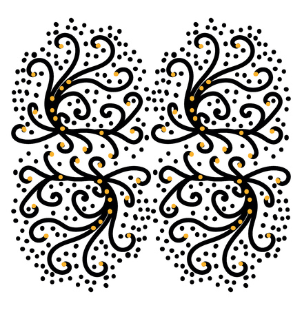 A picture of regular patterns of S-shaped floral designs in black and yellow colors vector color drawing or illustration