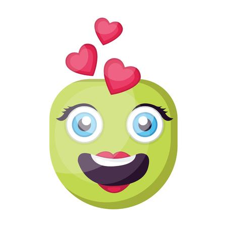Green female emoji face in love vector illustration on a white background Illustration