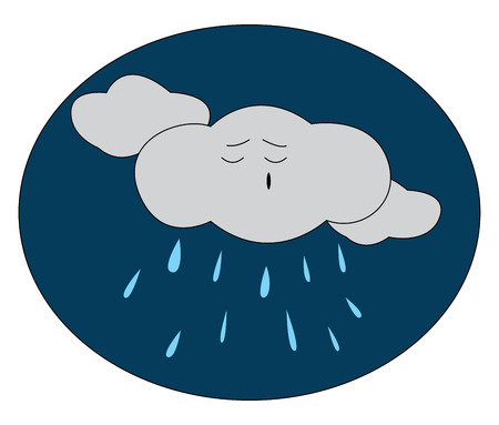 Cartoon of a rainy night with a grey-colored cloud among the other clouds dismayed while raining vector color drawing or illustration