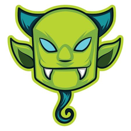 Green devil illustration vector on white background