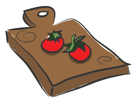 Clipart of two tomatoes over a wooden cutting pad rectangular in shape and with the proficiency to suspend on the nails or hooks of the wall vector color drawing or illustration  Illustration