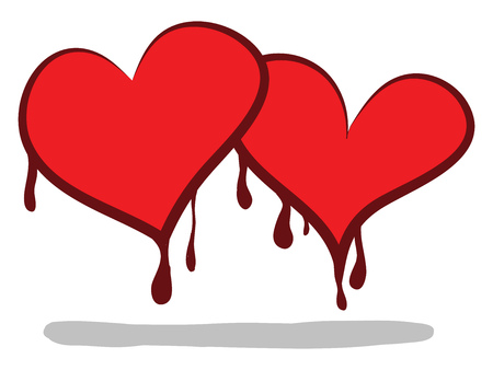 Two cartoon hearts shedding blood symbolizes the love that two persons have for each other vector color drawing or illustration