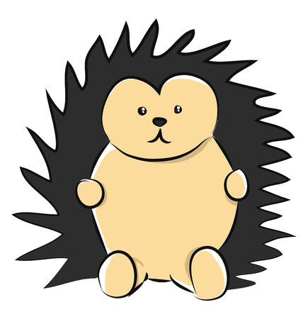 A brown-colored cartoon hedgehog with black-colored spiky hairs expresses sadness while in a sitting posture vector color drawing or illustration 일러스트