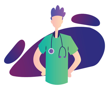 Colorful vector illustration on a white background of a ward boy in green medical suit Иллюстрация