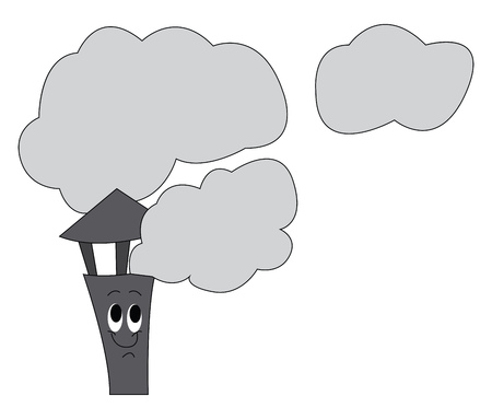Smoke fumes passing through the grey-colored chimney the vertical channel or pipe of a house vector color drawing or illustration