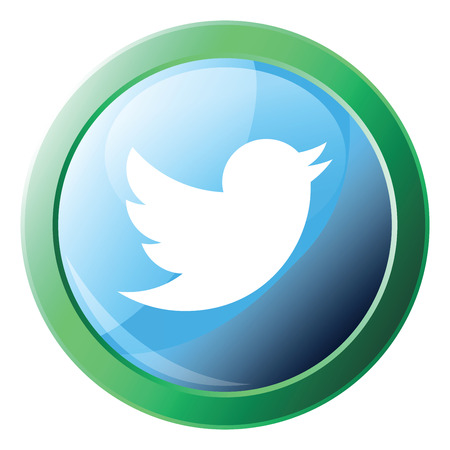 Twitter logo design inside green bubble vector icon illustration on a white background