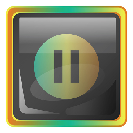 Pause grey square vector icon illustration with yellow and green details on white background  イラスト・ベクター素材