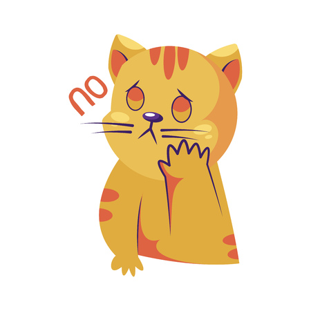 Sad yellow cat saying No vector  sticker illustration on a white background