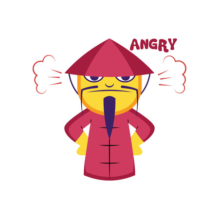 Angry Chinese man in pink suit vector illustration on a white background