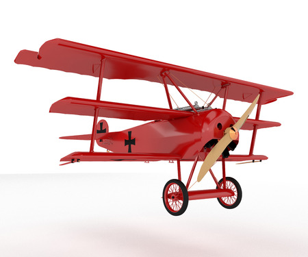 A triplane toy it is a vintage historical fixed-wing aircraft equipped with three vertical stacked wings vector color drawing or illustration Imagens - 123827107