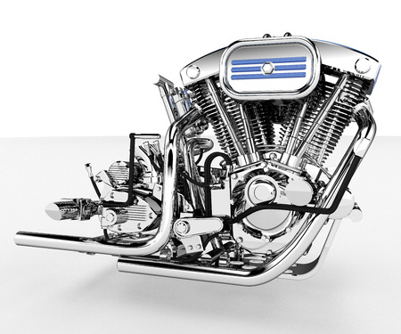 A V-twin engine is a two-cylinder internal combustion engine where the cylinders are arranged in a V configuration vector color drawing or illustration