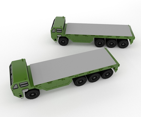 It is a picture of two military class medium heavy type vehicle for transportation of material from place to place vector color drawing or illustration