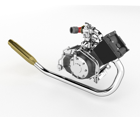 Single-cylinder engines are simple and compact and will often deliver the maximum power possible within a given envelope vector color drawing or illustration Banco de Imagens - 124970484