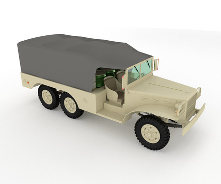 Military light utility vehicle compact unarmored with short body overhangs for nimble all-terrain mobility and frequently around 4 passenger capacity vector color drawing or illustration Stock fotó