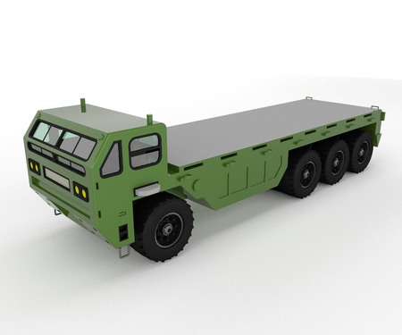 A military truck is a vehicle designed to transport troops fuel and military supplies to the battlefield through asphalted roads and unpaved dirt roads vector color drawing or illustration