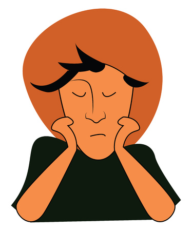A boy wearing a big orange colored hat and a green shirt with eyes closed and hands at the chin, cartoon, vector, color drawing or illustration.