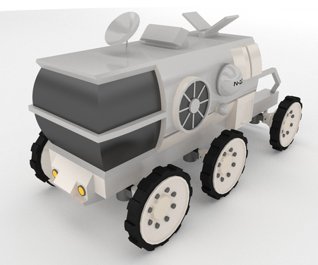 It is a six wheeler vehicle having antenna and allow the attachment of tools such as cranes cable reels backhoes and winches vector color drawing or illustration Banque d'images - 124970632