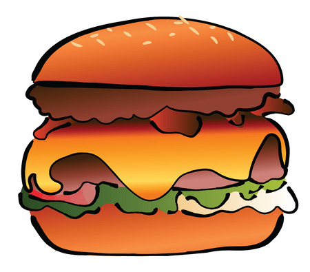 A hearty hamburger with a slice of cheese & vegetables vector color drawing or illustration Stock Photo