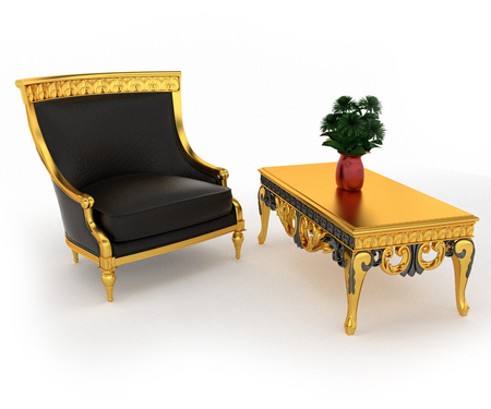 A small couch sofa or settee is a piece of furniture for seating one person along with a coffee table is kept on hall vector color drawing or illustration