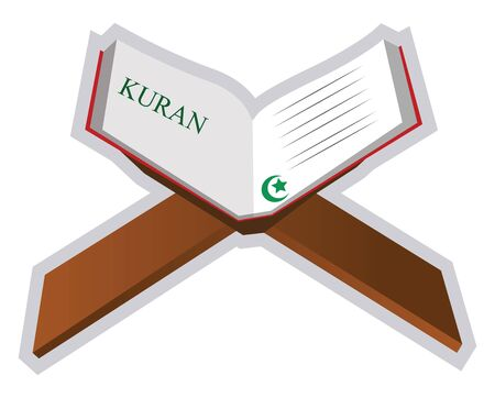 Illustration of a holy book Quran on a white background