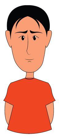Black haired boy vector illustration