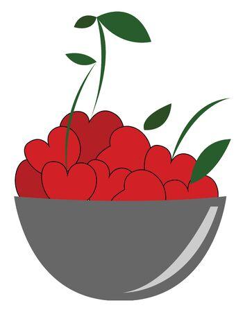Bowl full of fresh cherries vector illustration  Illusztráció