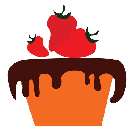 Chocolate cake with strawberries vector illustration  向量圖像