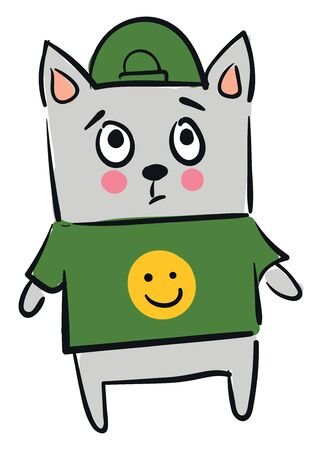 Gray cat in green T-shirt