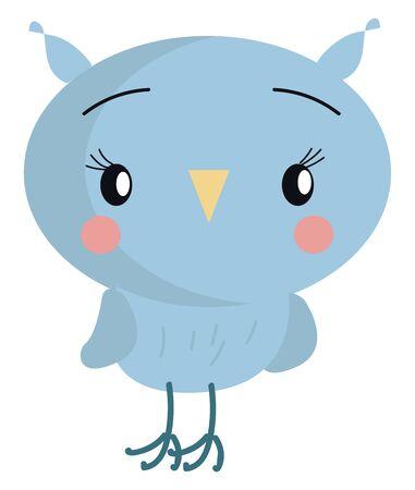 Little blue owl illustration vector on white background