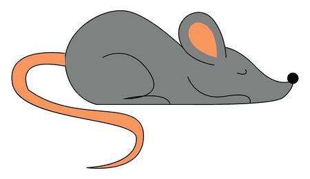 Mouse sleeping illustration vector on white background