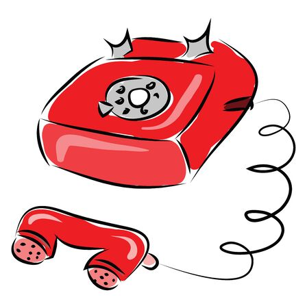 Old red phone illustration vector on white background