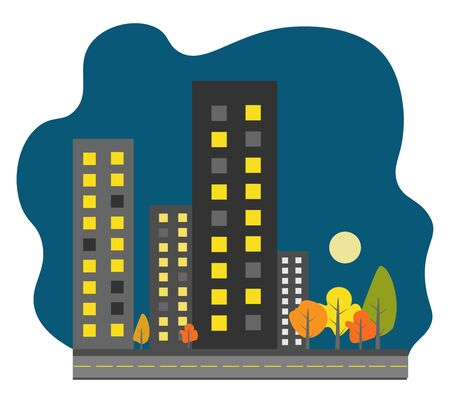 Night town illustration vector on white background