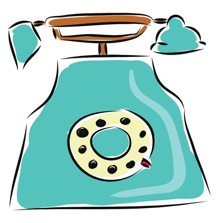 Old blue phone illustration vector on white background