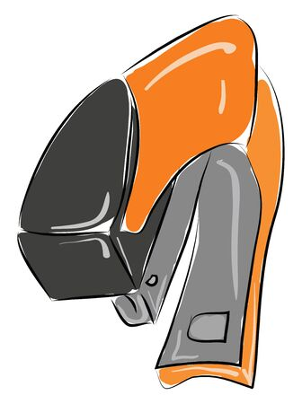 Orange stapler illustration vector on white background  Vectores