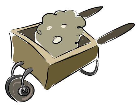 Wheelbarrow illustration vector on white background  Illustration