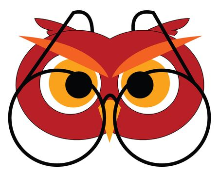 Owl with glasses illustration vector on white background Stok Fotoğraf - 132661810